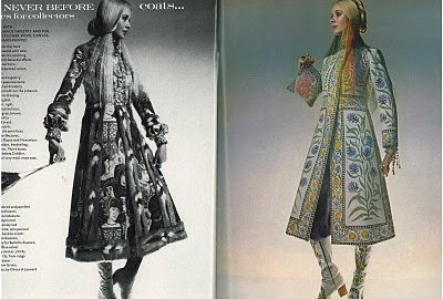 'Rajputana' coat as featured in the pages of British Vogue, November 1970. Modelled by Maudie James, photographed by Barry Lategan.