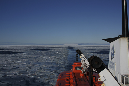 Ross sea, Franklin Island in the distance. Photo Anton van Helden, copyright Te papa.