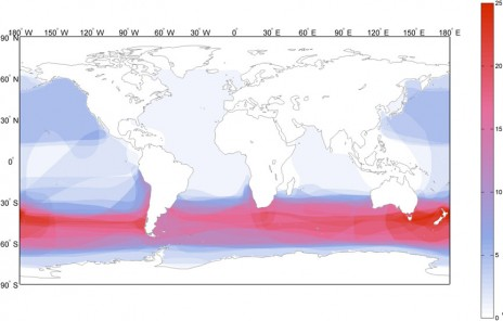 A figure from seabird ecological risk assessment analyses indicating the density per square kilometre of species around the Southern Ocean. This shows a high density particularly in the New Zealand area. The study presented by Te Papa researchers and collaborators to the Convention for the Conservation of Southern Bluefin Tuna working group examined which areas and species were most at risk of adverse effects of longline fishing for tuna. Image: after Waugh et al. 2012.