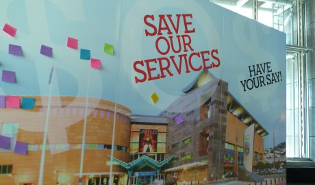 Save our Services board in the Wellington Foyer