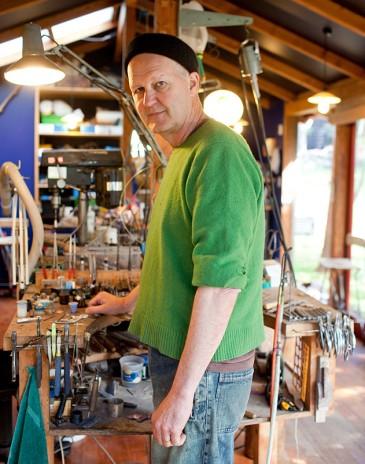 Warwick Freeman in his studio. Photo by Michael Hall copyright Te Papa
