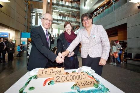 Te Papa's 20,000,000th visitor, Eliza Jost, with Chief Executive, Mike Houlihan and Kaihautū, Michelle Hippolite. Photograph by Norman Heke. Te Papa