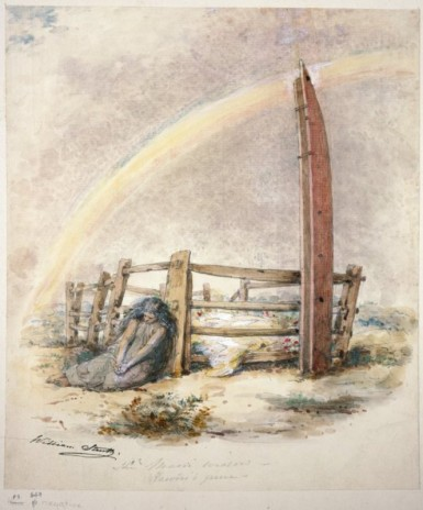 William Strutt, 'The Maori Widow - Rawiri's Grave', 1855. E-453-f-002-1. Alexander Turnbull Library.