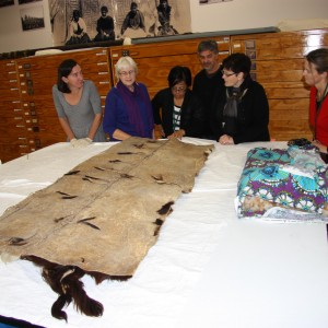 Huru kurī, cloak stitched from whole dog skins, on loan from Puke Ariki.