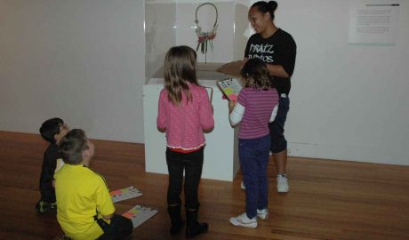 Te Papa's school holiday programme visiting the 'Collecting Contemporary' exhibition, April 2012. Photo: Te Papa