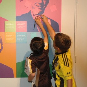 Some of our visitors sticking it to the man (a.k.a Te Papa's boss, Mike Houlihan).