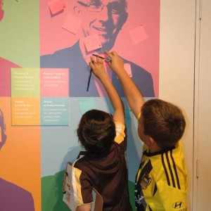 Some of our visitors 'sticking it to the man' (aka Te Papa's boss Mike Houlihan). Photo: Te Papa