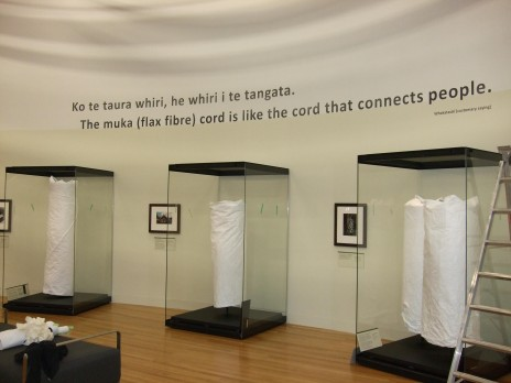 Kākahu in their cases, soon to be revealed in the Kahu Ora Living Cloaks exhibition. Photography by Pamela Lovis, copyright Te Papa 2012.