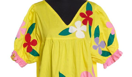 Yellow dress with flower embroidery