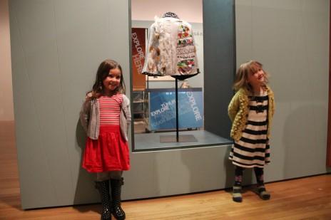 Apolline and Urszula with the kākahu on display in the Weavers' Studio of the Kahu Ora exhibition. Courtesy of Tai Tamariki Kindergarten
