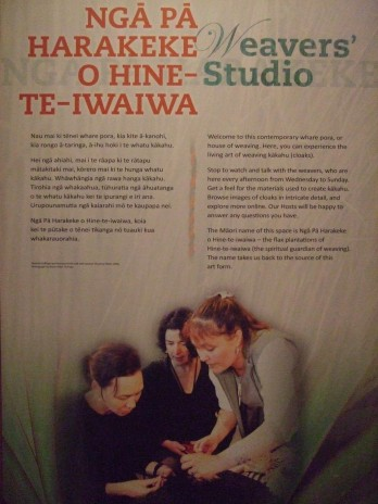 Weavers studio graphic showing Veranoa Hetet with Huhana Smith and Rachel Collinge