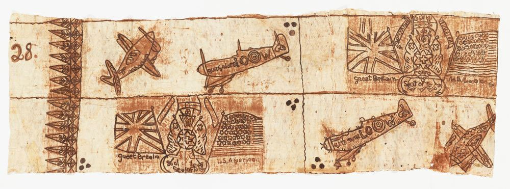 Tongan bark cloth depicting Spitfire airplanes