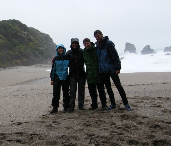 Field team taking a break from the mud on our way home. From left to right: Lara Shepherd (Te Papa), Clara Peron (CNRS), Susan Waugh (Te Papa), Mark Miller (BirdLife International)
