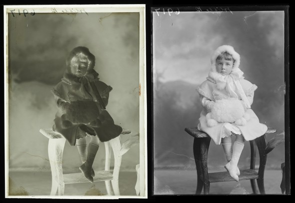 Negatives can be difficult to 'read', so creating a positive digital image makes it easier for us to improve our catalogue data, for example by using clothing details to estimate the date the photograph was taken.