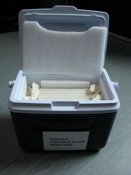 One of the transport chilly bins.  The negatives are stored in archival paper sleeves, to protect the surface of the image.  Photograph Anita Hogan, copyright Te Papa.