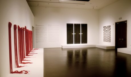 From left to right, artworks by Yuk King Tan, Ralph Hotere and Gordon Walters. Photo: Hutch Wilco, Te Papa