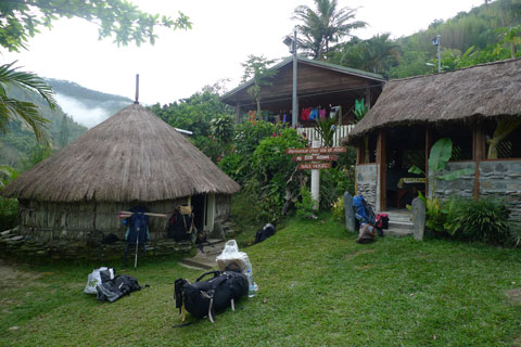 We stayed in villages during some of our trip. Here at Bas Coulna, before we left to climb Mount Panié, we had a traditional-type hut. Photo Leon Perrie. © Te Papa.