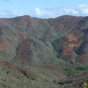 New Caledonia has a higher GDP per capita than New Zealand, principally due to nickel and copper mining. Mining operations are widely evident. Photo Leon Perrie. © Te Papa.