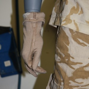 Detail of the glove after the modification of the display mannequin. Image copyright Te Papa.