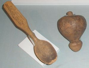 """Anjou"" spoon and spinning top .Te Papa"