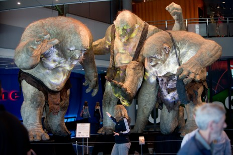 Weta Cave Trolls in Wellington Foyer. Photo Michael Hall. © Te Papa.