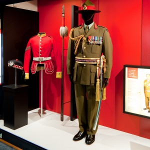 The tunic on display in 'Uniformity', level 4, Te Papa.