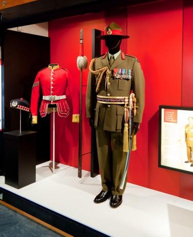 The tunic on display in 'Uniformity', level 4, Te Papa.
