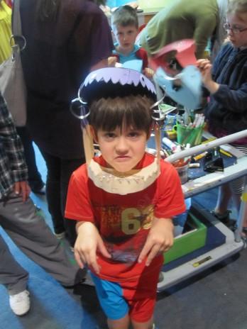 Visitor wearing his dragon mask