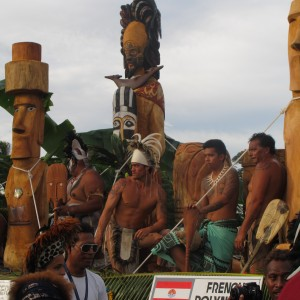 the Rapa Nui people, during a parade at the Festival of the Arts