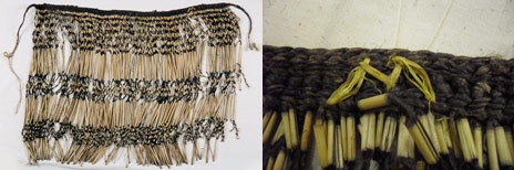 ME012014 piupiu. Yellow 'M' on outer proper right hand side (textile's left) of waistband. Te Papa
