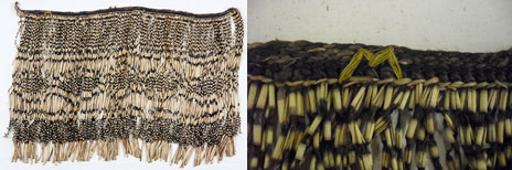 ME012427 piupiu (skirt). Yellow 'M' on outer left hand side (textile's right) of waistband. Te Papa