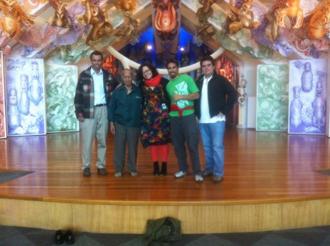 The visiting group and the curator, in front of Te Hono ki Hawaiki (Te Papa's wharenui). Photographer Dr Susan Waugh, copyright Te Papa Tongarewa, 2012.