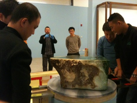 Huaxai Art Handlers lift the 200kg 'Te Huriki' Snowflake. November 2012. Callum Strong