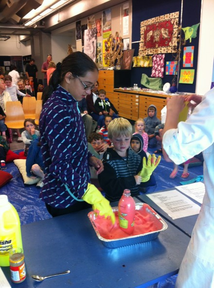 What does it feel like? Elephant's toothpaste is surprisingly warm! Photo: Kate Clarkin. © Te Papa.