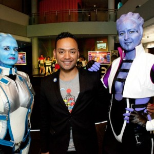 The local Asari occupy Te Papa's Wellington Foyer at Game Masters opening day events, with event producer Te Arikirangi Mamaku