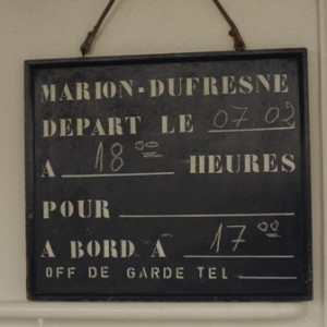 Departure Board of the Marion Du Fresne. Image: Susan Waugh, (C) Te Papa