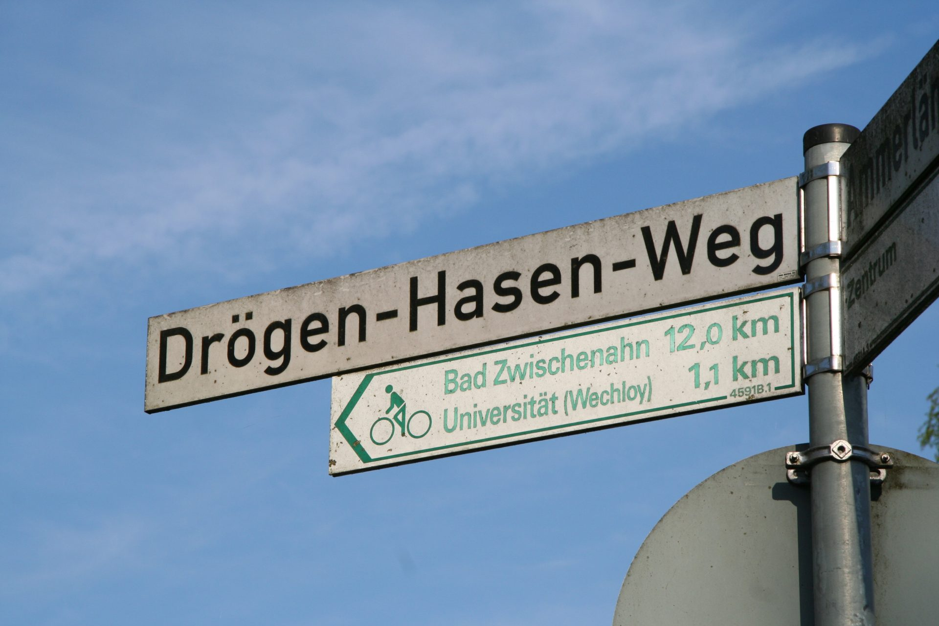 "My colleagues tell me that ""Drögen-Hasen-Weg"" means ""Dry Feet Way"" in Plattdüütsch, the local dialect of German still spoken in this area. In earlier times, this road was a way for the locals to get around without having to cross any waterways. Photo by Heidi Meudt."