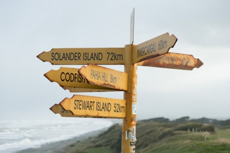 Signpost, McCrackens Rest, 'Solander Island 72km'. Photo credit: Michael Hall © Museum of New Zealand Te Papa Tongarewa