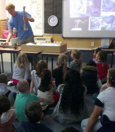 Vertebrate curator Alan Tennyson showing students a moa bone at Dyer Street School. Photographer: Troy Murphy © Te Papa