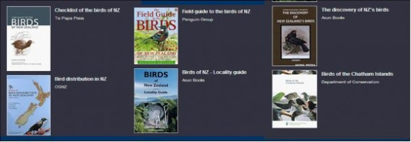 'Book cover icons, a composite screenshot from New Zealand Birds Online