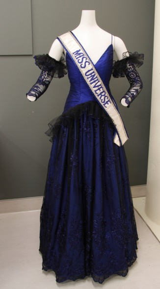 Lorraine Downe's Miss Universe ball gown being prepared for display in Te Papa's conservation lab.