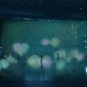 Glowing balloons create an interactive space before people step into the elevators. © Open Lab