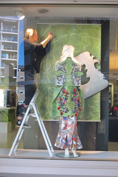 Hannah installing her garment at Te Papa. © Te Papa