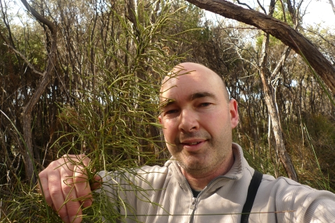 Caption: Me and the giant, 2. Lycopodium deuterodensum, Karikari Peninsula, Northland. Photo © Leon Perrie.