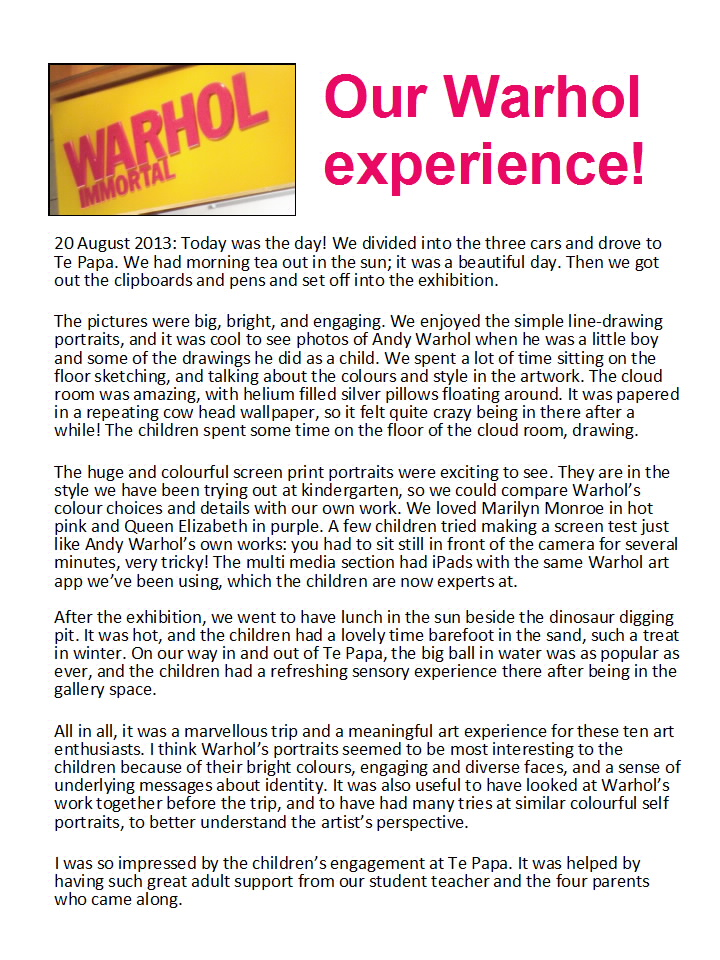 Our Warhol Experience by Plimerton Kindergarten