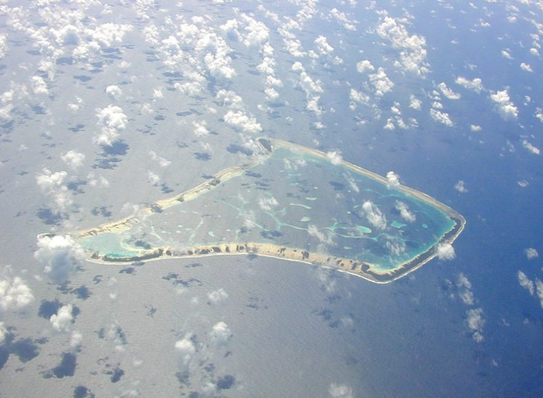 Fakaofo Atoll in the Tokelau Group, photographed from 30,000+ feet on October 19, 2005.