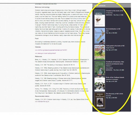 Book cover icons as they appear on NZ Birds Online species pages. The HANZAB (Volume 3) icon is fourth from the top in this example.