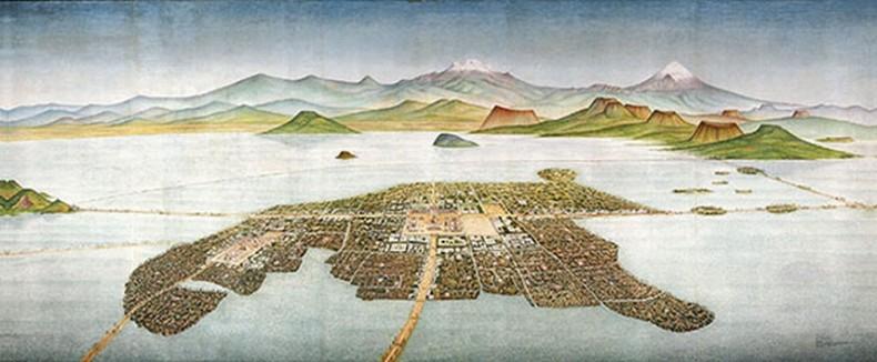 Island Capital of the Aztecs, Tenochtitlan (mural), Covarrubias, Luis (1919-1987) Museo Nacional de Antropologia, Mexico City, Mexico