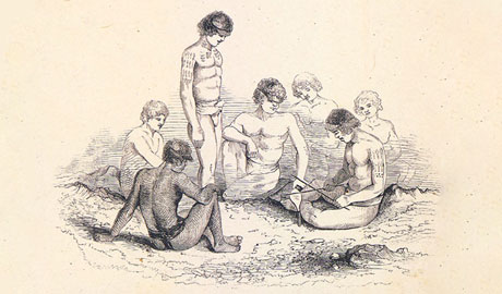 A drawing of people tattooing each other in Tokelau