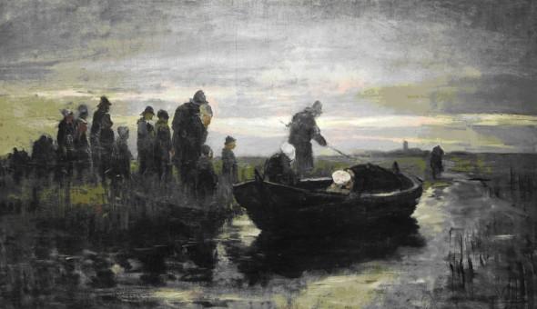 Petrus van der Velden, Marken Funeral Barge, 1890-1891, oil on canvas, Gift of the New Zealand Academy of Fine Arts, 1936 (1936-0012-113)